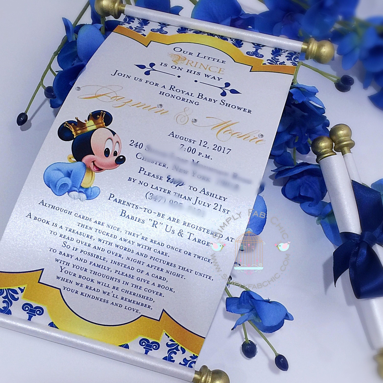 Royal Prince Baby Mickey Mouse Princess Scroll Invitation