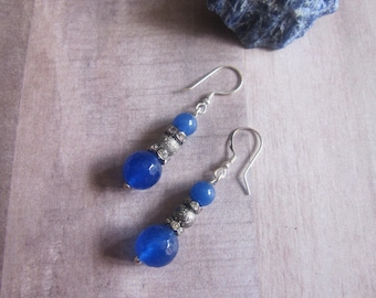 BLUE AGATE EARRINGS with sterling silver .925
