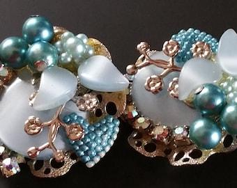 Vintage Faux Pearl and Aurora Borealis Rhinestone Clip-on Earrings