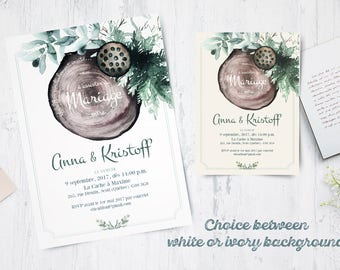 EVERGREEN Collection Model 1703 - Printable Wood and Green leaf Wedding Invitation Template