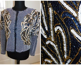 Sequined Beaded Cropped Trophy Bolero Jacket Mosaic Abstract Deco Beaded Sequin Silk Jacket