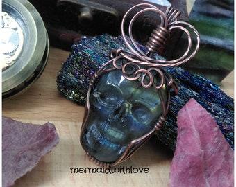 Labradorite Skull Pendant in Antiqued Copper