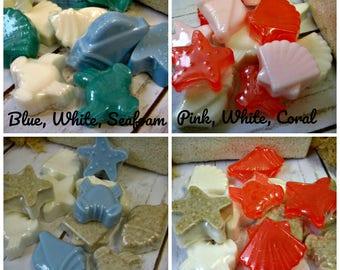 Seashell Soap  - Beach soap/Oregon Coast soap/4 coastal scents/ 9 mini soaps