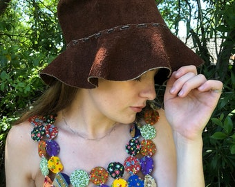 Brown Suede Leather Floppy Sun Hat