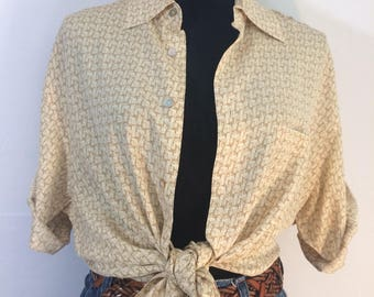 Vintage mid century print 100% silk shirt / fits small to large womens