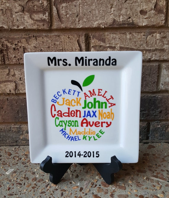 Custom Personalized Apple Plate for Teacher