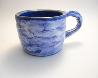Speckled Blue and White Stoneware Ceramic Mug, Handmade Pottery, Hand Painted, Hand Thrown, Wheel Thrown Mug, Coffee Cup, Drinks (C0011)