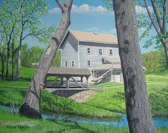 Original Award-winning acrylic painting, Beckman's Mill - Canvas size, 12 x 16