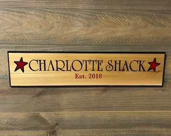 HAND CARVED/Personalized Wood Sign/Name Wood Carved Sign/Handmade Wooden Sign/Wood Cabin Sign/Lake House Sign/Personalized Wood House Sign