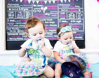 Twin Girl Boy Baby Chevron Cake Smash Outfit Chevron lime green tutu and suspender set Chevron Matching Twins Outfit, Twin one year outfit