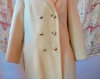 Vintage 1980s Women's Coat with Leopard faux fur collar
