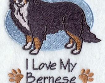 I Love My Burmese Mountain Dog Embroidered Flour Sack Hand/Dish Towel