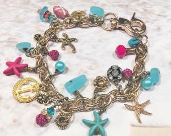 Pink and Turquoise Starfish Charm Bracelet, Sea Glass Bracelet, Charm Bracelet, Starfish Bracelet, Beach Bracelet, Gold Chain Bracelet