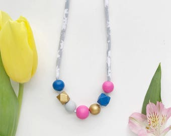THE MAISIE petite modern girls necklace, kids necklace, petite handpainted wooden bead necklace on fabric string