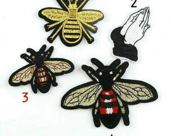 1 BEE Yellow Brown Red Applique Iron On Animal Patch