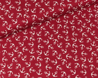 Cotton fabric Baltic deep red with white anchors (10.90 EUR/meter)