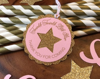 Twinkle Twinkle Little Star Thank You Favor Tags - Pink and Gold Glitter Baby Girl Birthday/Baby Shower
