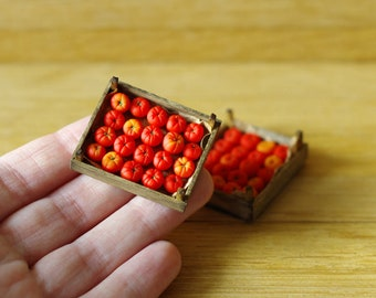 Tomatoes in a box. Miniature tomato. Red and yellow tomatoes. Miniature food. Miniature doll house. Scale 1/12