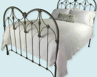 Full Antique Cast Iron Bed Frame Double Size Art Deco Style, antique bedframe, antique wrought iron bed, antique metal bed, antique steel