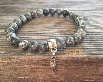 Grey Picasso Jasper Bracelet, Yoga Bracelet, Healing Bracelet, Stretch Bracelet, Minimal Bracelet, Boho Bracelet, Silver Bar Bracelet