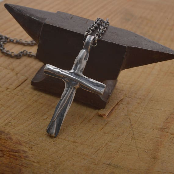 Modern cross necklace for men sterling silver mens cross like this item mozeypictures Image collections