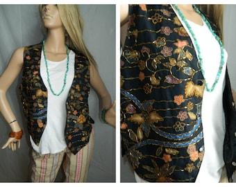 30% off  Vintage Vest Floral Embellished details beading Size Large