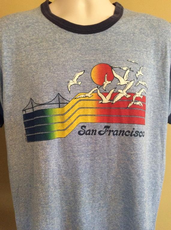 Vtg 80s Screen Stars San Francisco Souvenir Ringer T-Shirt Heather Blue L Thin 50/50 6WBoUxc