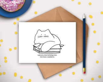 Funny cat birthday card printable instant download digital funny cat birthday card printable instant download cat lover cat in a box bookmarktalkfo Gallery