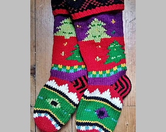 Nordic Style Arran Hand knitted Welly Socks