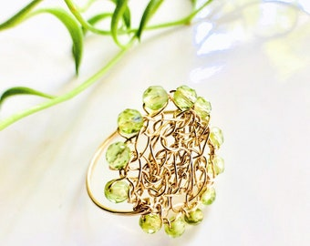 NEW Peridot Healing Stone Statement Ring Crocheted and Wire Wrapped in 14K Gold Fill Wire Handmade by Emunique Jewelry