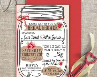 Bridal Shower Invitation; Printable Invitation; Mason Jar Invitation; Rustic Bridal Shower; Wedding Invitation; Bridal; Rustic; Digital File