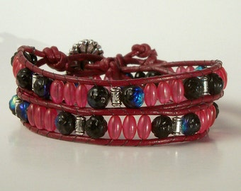 Wrap Bracelet - Rose and Black Glass Beads