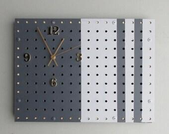 pegboard key holder /clock - charcoal/white– Vertical Time - quartz clock - home décor - wall art -  functional artwork