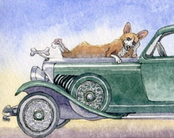 Welsh Corgi dog 8x10 print - vintage classic car