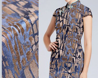 Geometry Print Dark Blue Stretch Silk Satin Fabric Width 42 inch