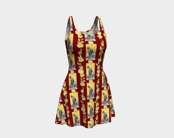 Floral Tarot Print - Strength - Skater Dress - Flare Dress