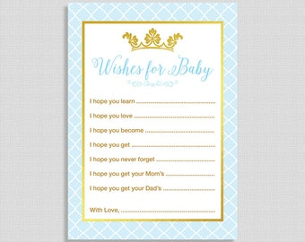 Wishes For Baby Shower Cards, Light Blue & Gold Prince Baby Shower Activity, DIY Printable, INSTANT DOWNLOAD