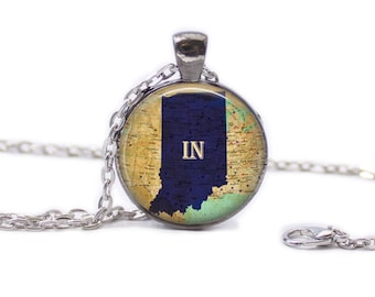 Indiana Necklace, Indiana Map Jewelry, Travel Necklace, Indiana Map Necklace, Indiana Atlas Necklace, Map of Indiana