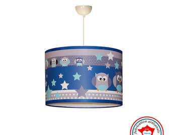"Kids ceiling lights ""The owls see life in blue"""