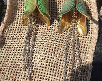 Patina Brass Flower Earrings with a dangling center