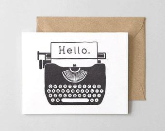 Hello Typewriter Letterpress Greeting Card