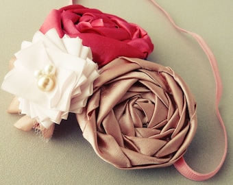 Fabric Flower Tutorial PDF - Fancy Headband 2 PATTERNS rolled flower & Fancy ribbon flower with leaves and headband - Instant Download