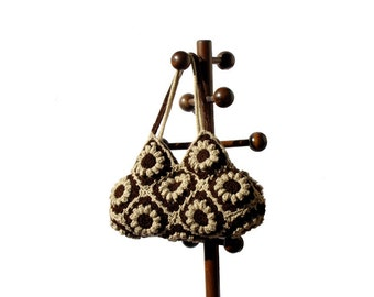 Boho crochet bag floral purse big shoulder bag hippie purse crochet flowers tote bag eco friendly purse everyday carryall festival bag