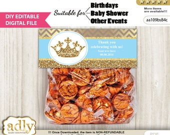 DIY Editable Royal Prince Goodie, Treat Bag Toppers Digital File, print at home for birthday, baby shower, baptism Crown - aa109bsB4c