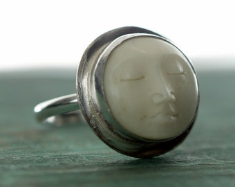 Carved Moonface Silver Ring, Sterling silver ring,