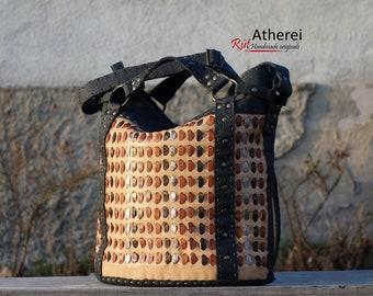 Hand stitched leather handbag * Adelaide Amber * Atherei * original * leather bag