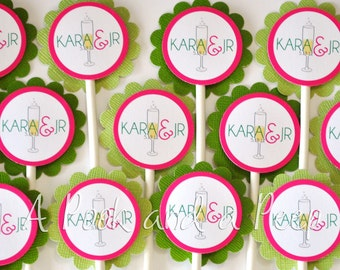 Champagne Wedding Engagement Party Cupcake Toppers Cupcake Picks - Custom colors Set of 12