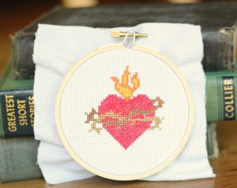 Sacred Heart of Jesus Cross Stitch Pattern // Catholic Cross Stitch Template