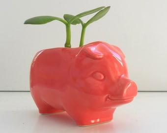 Ceramic Pig Planter, Succulent Planter, Cactus Pot, Vintage Design, Coral Pink, Mini Pig, Sponge Holder, Flamingo Pink, Modern, Retro Style