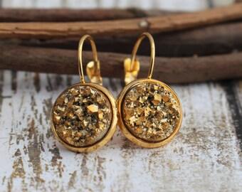 Gold Lever-Back Earrings - Faux Gold Druzy Earrings - Druzy Earrings - Sparkly Earrings - 12mm - Gift for Friend -  Faux Druzy - Dangle